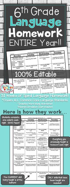 Spiral Language Homework, Bell Ringer, or Centers for the ENTIRE YEAR of SIXTH GRADE! Aligned with 6th grade Common Core Language standards {Grammar & Word Study}. These sheets are 100% EDITABLE, and come with answer keys. Paid
