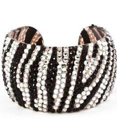 "Amazon.com: WOW!!! Celebrity Style Zebra, Leopard Animal Print Crystal & Rhinestone Handmade Plastic Open Bangle 2"" Wide & Lightweight by Jersey Bling (Zebra): Jewelry"