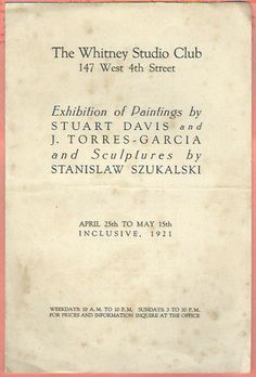 Joaquin Torres-Garcia, exhibition at The Whintney studio club. 1921.