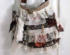 Large Romantic Handbag, Gypsy, Victorian, Shabby Chic, Vintage, Fringe Bag
