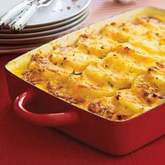 Three-Cheese Scalloped Potatoes Recipe - You will savor every bite of these decadent Three-Cheese Scalloped Potatoes. Mix up different types of cheeses based on your preferences.