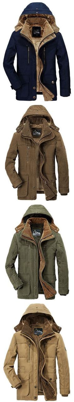 AFSJEEP Winter Thicken Warm Multi Pockets Solid Color Detachable Hood Jacket for Men