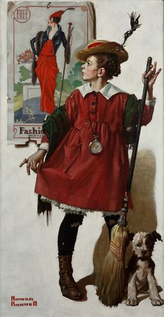 Norman Rockwell, The Little Model. Have never seen this painting anywhere.
