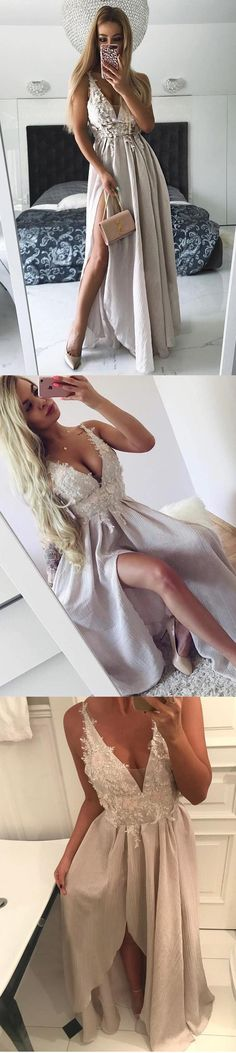 Unique V Neck Side Split On Sale Cheap Long Prom Dresses, WG774 #prom #promdress #longpromdress #promdresses #eveningdress