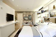 A proposta de José Ricardo Basiches era praticidade ao apartamento de 34 m². Ele se empenhou no uso de peças multiuso e na distribuição correta dos móveis