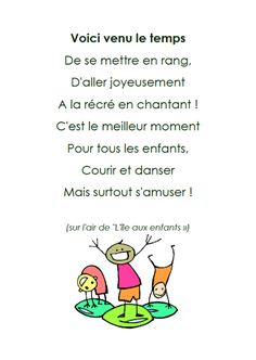 pour la récré French Teaching Resources, Teaching French, French Language Lessons, French Lessons, Songs To Sing, Kids Songs, Music Education, Kids Education, French Poems