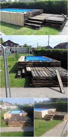 Fresh Ideas for Wood Pallets Recycling 2019 This is quite a unique and yet an impression art work de Homemade Swimming Pools, Building A Swimming Pool, Diy Pool, Swimming Pools Backyard, Pool Landscaping, Pallet Pool, Wood Pallet Recycling, Pallet Patio Furniture, Backyard Paradise