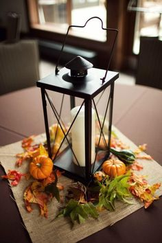 LOVE this for a fall wedding- and light the lanterns when it gets dark :)