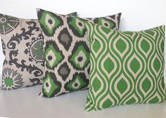 FALL SALE Set of 3 Organic Green Throw Pillow by thebluebirdshop, $45.90