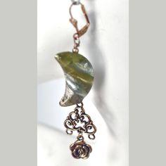 Half Moon, Filigree & Rose Bead Earrings