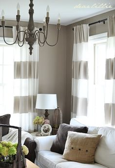 Living Room Decor ideas - Grey and white horizontal striped curtains, chandelier, transitional, country style.