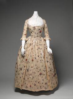 Robe à l'Anglaise, con bobillo, 1785-1795. Algodón estampado.