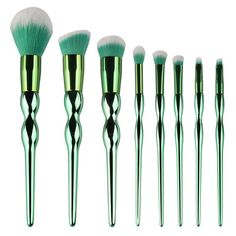 Ivy Brushes. Green ivy makeup brushes with green and white brush hair. - 8 Pieces