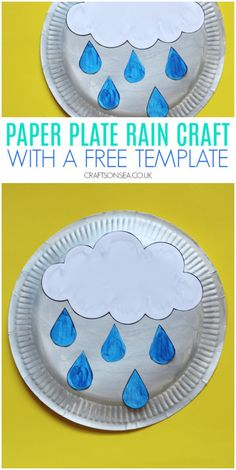 Rain Crafts for Kids, Paper plate rain craft for kids with a free template - great for weather units and spring crafts. Simple Snowflake, Snowflake Craft, Weather Crafts, Preschool Weather, Spring Activities, Diversity Activities, Weather Activities, Rain Crafts, Rainbow Fish Crafts