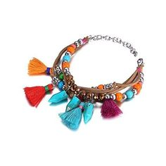 Amazon.com: eManco Bohemian Handmade Multicolor Tassel Bangle... ($14) via Polyvore featuring jewelry, bracelets, crystal bangles, crystal charms, boho jewelry, charm pendants and hinged bracelet