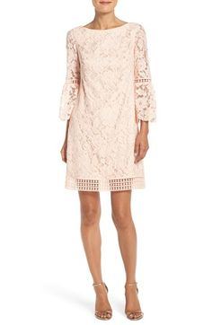 Free shipping and returns on Eliza J Bell Sleeve Lace Shift Dress (Regular & Petite) at Nordstrom.com. A versatile party dress in exquisite floral lace is styled in a modern silhouette with flared bell sleeves and an illusion-trim hem.