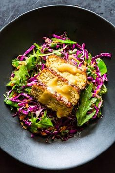 Snow Pea, Cabbage, and Mizuna Salad with Marinated and Seared Tempeh ~ All Time Healthy Recipes