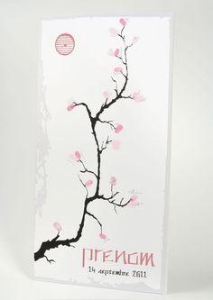 Estampe cerisier à empreintes - autre version de l'arbre à empreinte - livre d'or