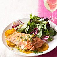 Roasted Salmon and Golden Beets: I would probably use something other than beets. Good base idea.