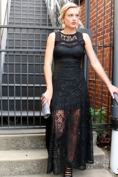 Sexy black and lacy! Perfect Date night look!  #blacklace #long #sexy #fitted #shear #datenight #dress #style #fashion