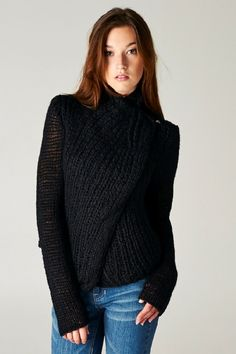 Sexy Chic Vertical Knit Mockneck Sweater with Hook Closure.