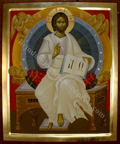 Icon of Christ Pantocrator, the Alpha and the Omega with the images attributed to the Four Evangelists. Orthodox Icons, Artist Inspiration, Byzantine Art, Painting, Christ The King, Art, Christian Art, Peter Pan Art, Sacred Art