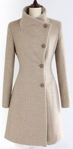 awesome Women Wool Blend Winter Fashion Sli.. #abrigos