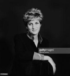 Princess Diana, Princess of Wales posing against a dark background, circa 1995.