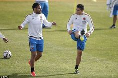 James & Falcao,training with NT in Santiago. Copa America Chile June 23, 2015