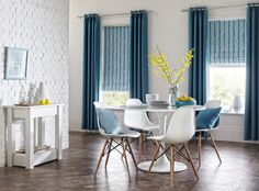 Sherwood Teal Curtains with Nirvana Cobalt Roman Blinds from Style Studio