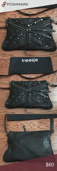 Treesje Black Leather Studded Jovi Crossbody Bag Used only a handful of times. Soft leather crossbody purse / bag. Treesje Bags Crossbody Bags