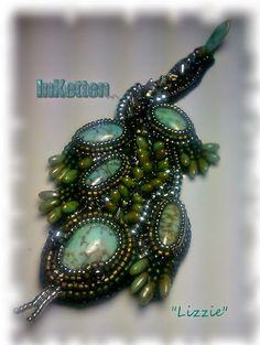 """InKetten: Bead Embroidery, """"Lizzie"""", my little lizard"""