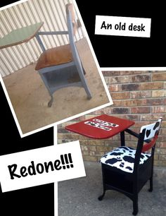 A rusty old school desk can be sanded down, taken apart, painted, and made new again for your favorite kiddos!