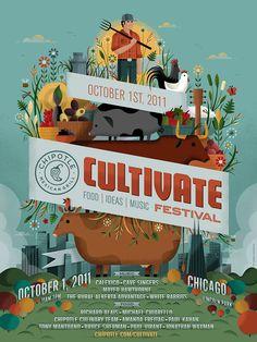 Chipotle Cultivate Festival Poster by Invisible Creature Flyer Design, Web Design, Event Design, Time Design, Layout Design, Creative Poster Design, Creative Posters, Cool Posters, Retro Posters