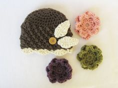 CROCHET PATTERN  Interchangeable Beanie & Flowers (5 sizes included: newborn-adult) Permission to sell finished items. $4.99, via Etsy.