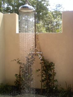 Bathroom,Wonderful Custom Outdoor Shower With Nickel Rain Double Handle Faucet Also Natural Garden Plant For Dog Or Cat Shower Room,Awesome Outdoor Shower For Exterior Design Outdoor Pool Shower, Outdoor Baths, Outdoor Spaces, Outdoor Living, Outdoor Decor, Outside Showers, Luxury Shower, Shower Accessories, Relaxing Bath