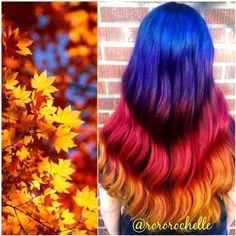Blue ombre hair color style with red and orange, My favorite Autumn hair look~