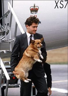 If I were Queen, I would hire cute guys in suits to carry around my corgis, too!