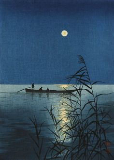 "Shoda Original Japanese Woodblock Print ""Moonlit Sea"" Hasegawa Nishinomiya | eBay"