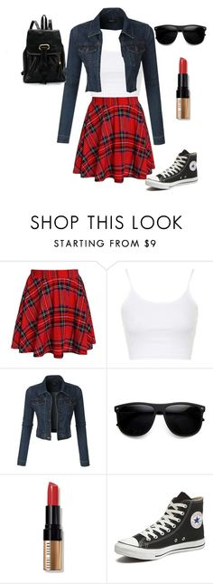 """""""Retro"""" by jilld727 ❤ liked on Polyvore featuring Topshop, LE3NO, Bobbi Brown Cosmetics and Converse"""