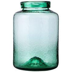 """Threshold� Wavy Glass Jar Vase - Green 11.42"""""""