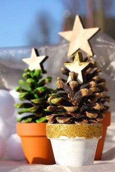Mini Christmas tree of pine cone - GiFTS Mini Christmas Tree, Christmas Mood, Christmas Pictures, Christmas Holidays, Christmas Crafts, Christmas Ornaments, Christmas Tablescapes, Christmas Decorations To Make, Pine Cone Crafts