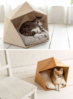 These geometric pet beds are an ideal resting spot for modern cats and dogs This small unique and modern pet bed made from wood is the perfect cave for your cat or dog. Diy Dog Bed, Cool Dog Beds, Unique Dog Beds, Modern Dog Houses, Pet Houses, Dog Furniture, Furniture Ideas, Cheap Furniture, Discount Furniture