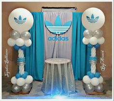 Adidas branded balloon columns in corporate colors 50th Party, Boy Birthday Parties, 40th Birthday, Baby Shower Parties, Hubby Birthday, Balloon Arrangements, Balloon Decorations, 90s Decorations, Hip Hop Party
