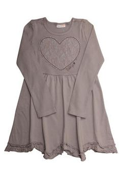 Girls long-sleeved dress with an asymmetrical frilled hem, and a lace heart with Naartjie Kids SA embroidery.