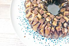 Chocolate Peanut Butter Cup Bundt Cake: dense chocolate cake covered ...
