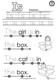 """Beginning Reading - Is: Each worksheet focuses on one word, and once that word is learned, it is dotted out on all future worksheets. The focus word of this worksheet is the word """"is"""". #reading #beginningreading #worksheets #English # read Sight Word Worksheets, Phonics Worksheets, Reading Worksheets, Reading Activities, Phonics Reading, Kindergarten Reading, Reading Comprehension, Learning English For Kids, Teaching English"""
