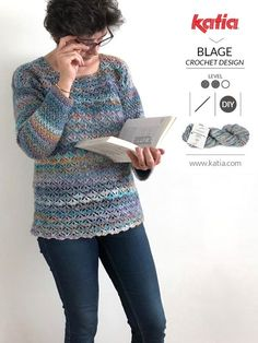 Eurybia crochet sweater by Blage Crochet Design, a great project for beginners who want to move up! Crochet Sweater Design, Crochet Tunic Pattern, Gilet Crochet, Crochet Blouse, Crochet Designs, Crochet Shrugs, Crochet Sweaters, Basic Crochet Stitches, Crochet Basics