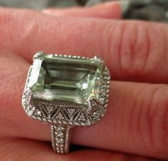Judith Ripka Ring Green amethyst Prasiolite Emerald Cut silver 7 DESIGNER CZ DMQ #JudithRipka #Cocktail
