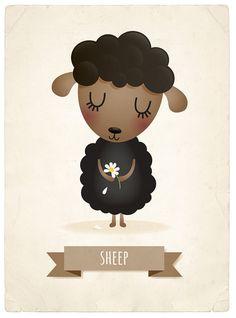 Sheep art print nursery illustration 5x7in by IreneGoughPrints